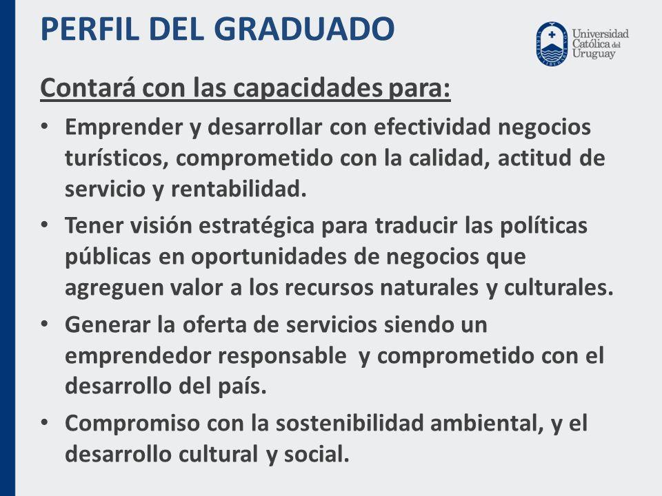 PERFIL DEL GRADUADO Contará con las capacidades para: Emprender y desarrollar con efectividad negocios turísticos, comprometido con la calidad, actitud de servicio y rentabilidad.