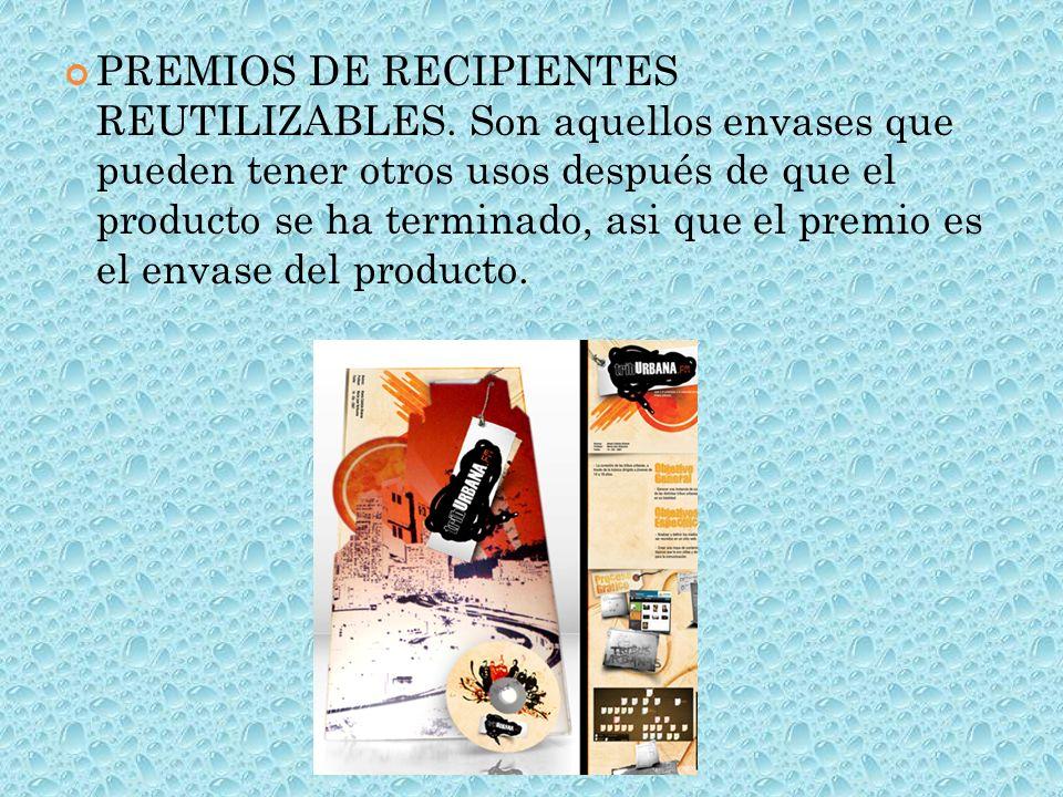 PREMIOS DE RECIPIENTES REUTILIZABLES.