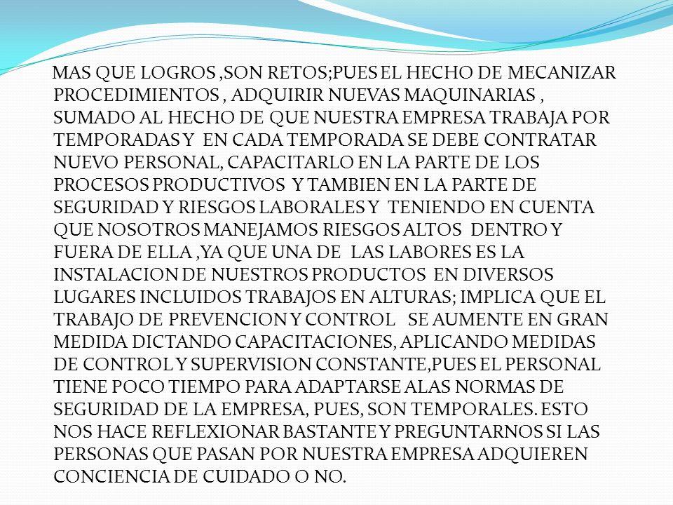 OBJETIVOS MOSTRAR EL ANALISIS Y LA CONCIENTIZACION QUE SE HIZO A TODAS LAS PERSONAS QUE INTERVIENEN EN LOS PROCESOS PRODUCTIVOS Y ADMINISTRATIVOS DE LOS RIESGOS LATENTES, SU PREVENCION Y CONTROL ESTABLECER ACTIVIDADES DE PROMOCION Y PREVENCION PARA MEJORAR LA CALIDAD DE VIDA.