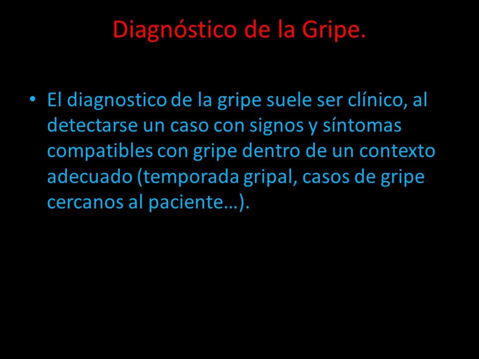 Diagnóstico de la Gripe. El diagnostico de la gripe suele ser clínico, al detectarse un caso con signos y síntomas compatibles con gripe dentro de un