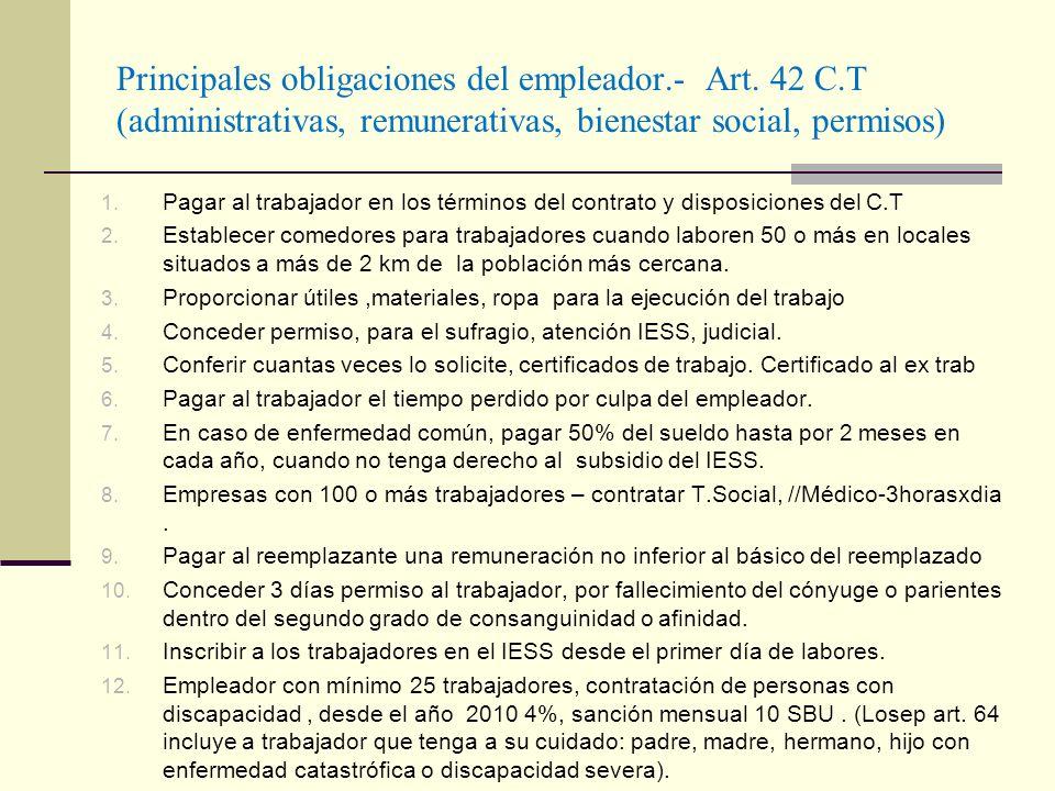Principales obligaciones del empleador.- Art. 42 C.T (administrativas, remunerativas, bienestar social, permisos) 1. Pagar al trabajador en los términ