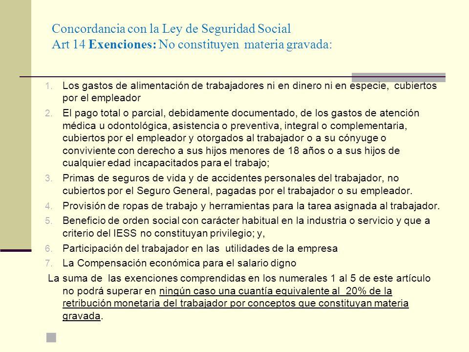 Concordancia con la Ley de Seguridad Social Art 14 Exenciones: No constituyen materia gravada: 1. Los gastos de alimentación de trabajadores ni en din