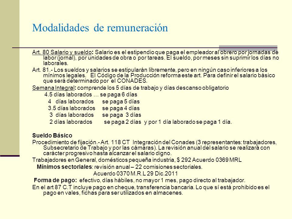 Modalidades de remuneración Art. 80 Salario y sueldo : Salario es el estipendio que paga el empleador al obrero por jornadas de labor (jornal), por un