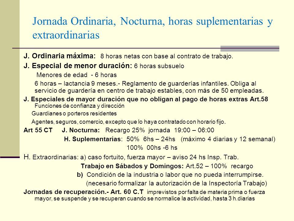 Jornada Ordinaria, Nocturna, horas suplementarias y extraordinarias J. Ordinaria máxima: 8 horas netas con base al contrato de trabajo. J. Especial de