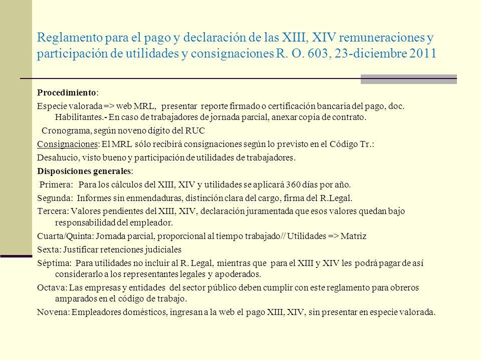 Reglamento para el pago y declaración de las XIII, XIV remuneraciones y participación de utilidades y consignaciones R. O. 603, 23-diciembre 2011 Proc