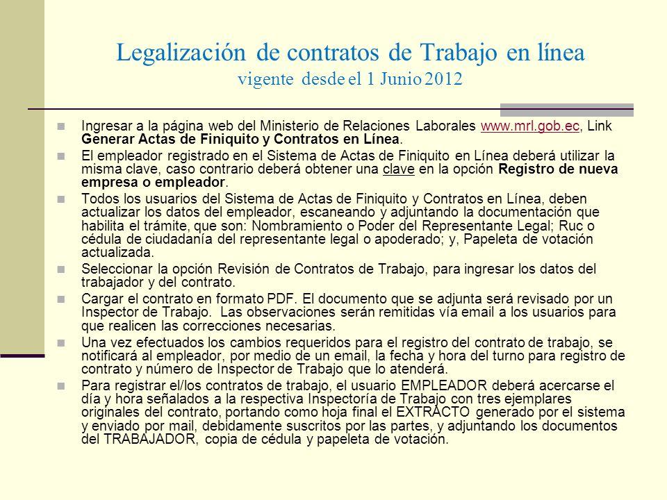 Legalización de contratos de Trabajo en línea vigente desde el 1 Junio 2012 Ingresar a la página web del Ministerio de Relaciones Laborales www.mrl.go