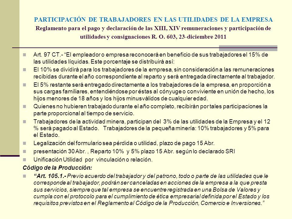 PARTICIPACIÓN DE TRABAJADORES EN LAS UTILIDADES DE LA EMPRESA Reglamento para el pago y declaración de las XIII, XIV remuneraciones y participación de