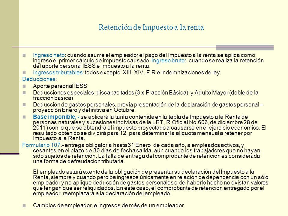 Retención de Impuesto a la renta Ingreso neto: cuando asume el empleador el pago del Impuesto a la renta se aplica como ingreso el primer cálculo de i