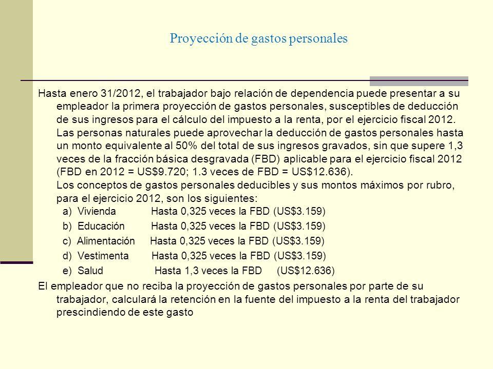 Proyección de gastos personales Hasta enero 31/2012, el trabajador bajo relación de dependencia puede presentar a su empleador la primera proyección d