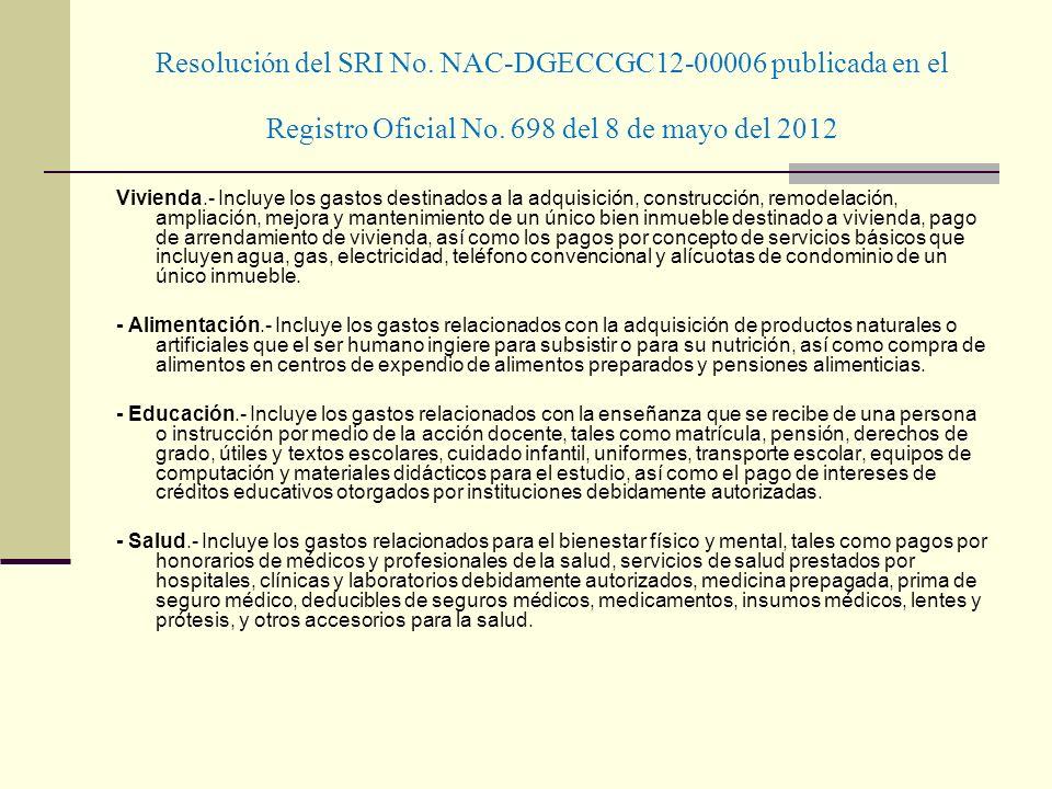 Resolución del SRI No. NAC-DGECCGC12-00006 publicada en el Registro Oficial No. 698 del 8 de mayo del 2012 Vivienda.- Incluye los gastos destinados a