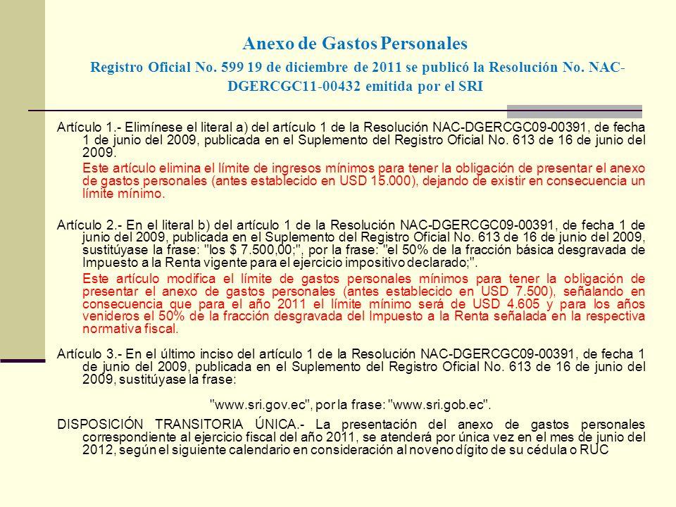 Anexo de Gastos Personales Registro Oficial No. 599 19 de diciembre de 2011 se publicó la Resolución No. NAC- DGERCGC11-00432 emitida por el SRI Artíc