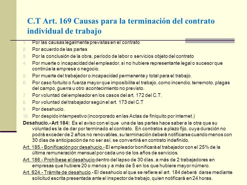 C.T Art. 169 Causas para la terminación del contrato individual de trabajo 1. Por las causas legalmente previstas en el contrato 2. Por acuerdo de las