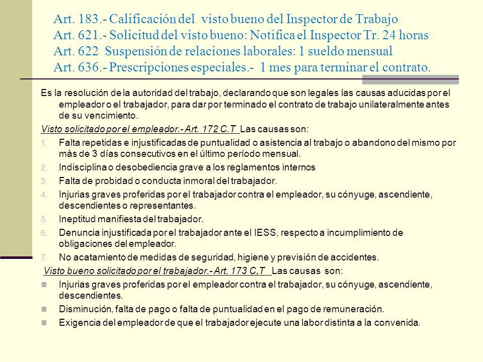 Art. 183.- Calificación del visto bueno del Inspector de Trabajo Art. 621.- Solicitud del visto bueno: Notifica el Inspector Tr. 24 horas Art. 622 Sus