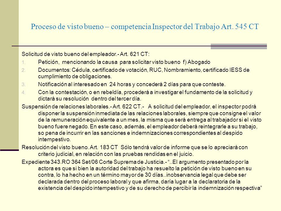 Proceso de visto bueno – competencia Inspector del Trabajo Art. 545 CT Solicitud de visto bueno del empleador.- Art. 621 CT: 1. Petición, mencionando