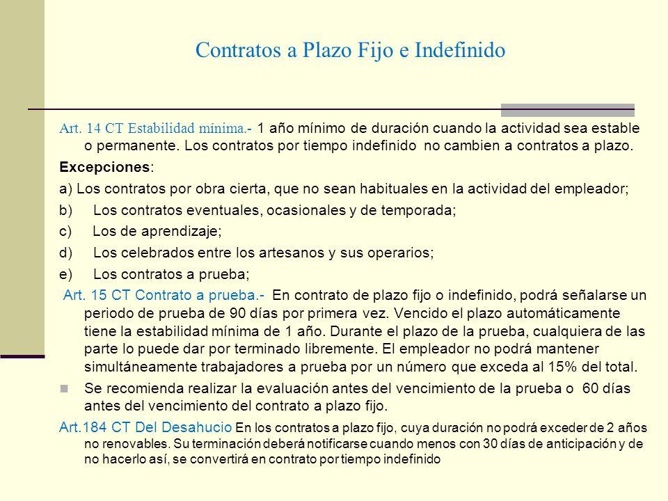 Contratos a Plazo Fijo e Indefinido Art. 14 CT Estabilidad mínima.- 1 año mínimo de duración cuando la actividad sea estable o permanente. Los contrat