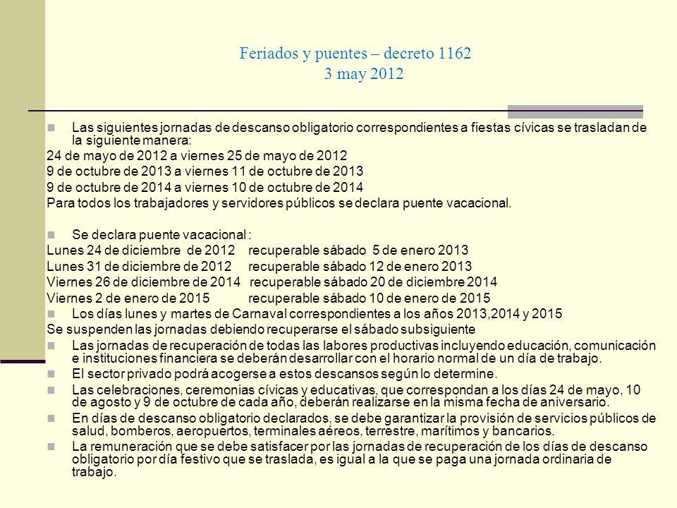 Feriados y puentes – decreto 1162 3 may 2012 Las siguientes jornadas de descanso obligatorio correspondientes a fiestas cívicas se trasladan de la sig