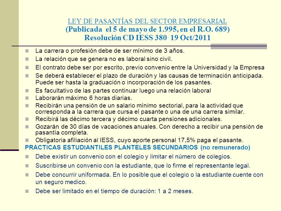 LEY DE PASANTÍAS DEL SECTOR EMPRESARIAL (Publicada el 5 de mayo de 1.995, en el R.O. 689) Resolución CD IESS 380 19 Oct/2011 La carrera o profesión de