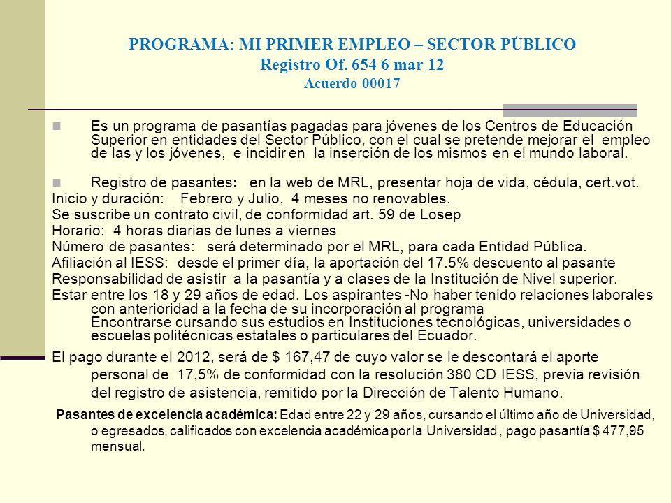 PROGRAMA: MI PRIMER EMPLEO – SECTOR PÚBLICO Registro Of. 654 6 mar 12 Acuerdo 00017 Es un programa de pasantías pagadas para jóvenes de los Centros de