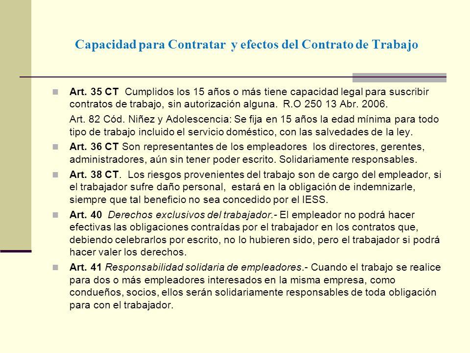 Capacidad para Contratar y efectos del Contrato de Trabajo Art. 35 CT Cumplidos los 15 años o más tiene capacidad legal para suscribir contratos de tr