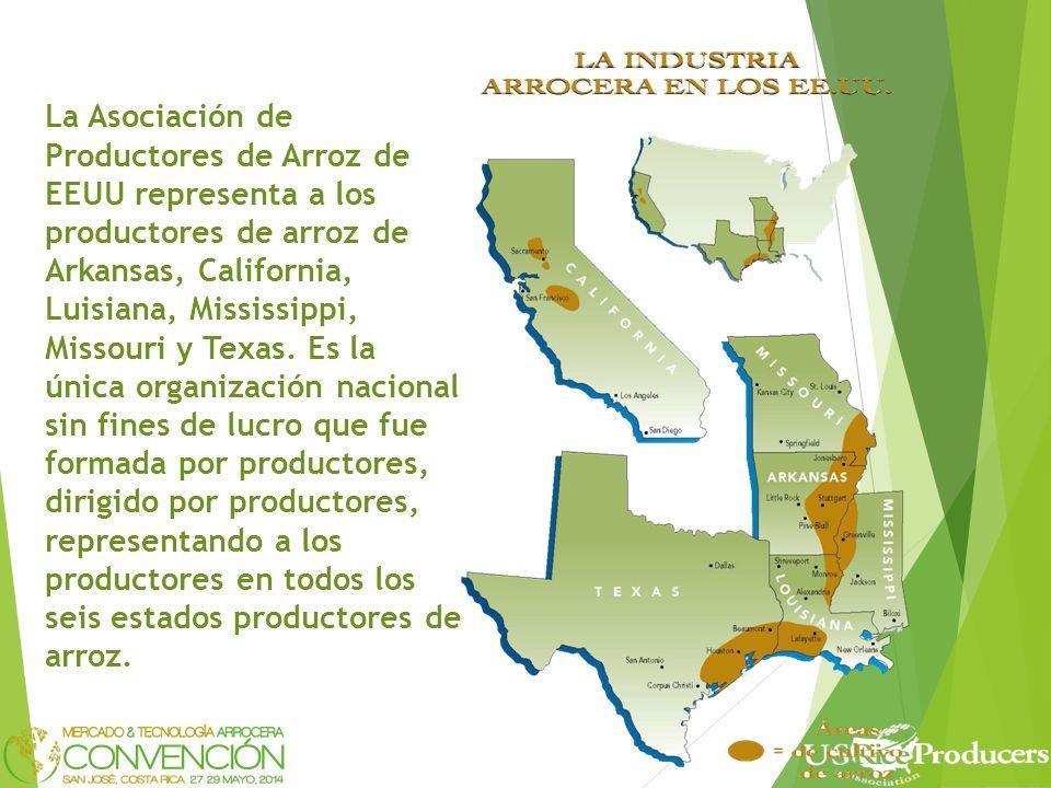 La Asociación de Productores de Arroz de EEUU representa a los productores de arroz de Arkansas, California, Luisiana, Mississippi, Missouri y Texas.