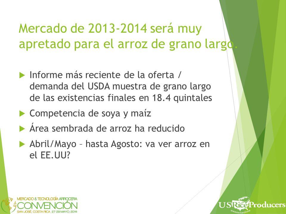 Mercado de 2013-2014 será muy apretado para el arroz de grano largo.
