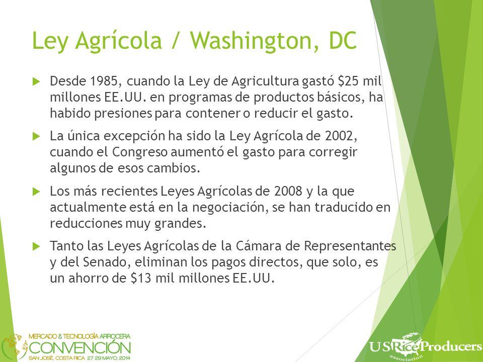 Ley Agrícola / Washington, DC Desde 1985, cuando la Ley de Agricultura gastó $25 mil millones EE.UU.