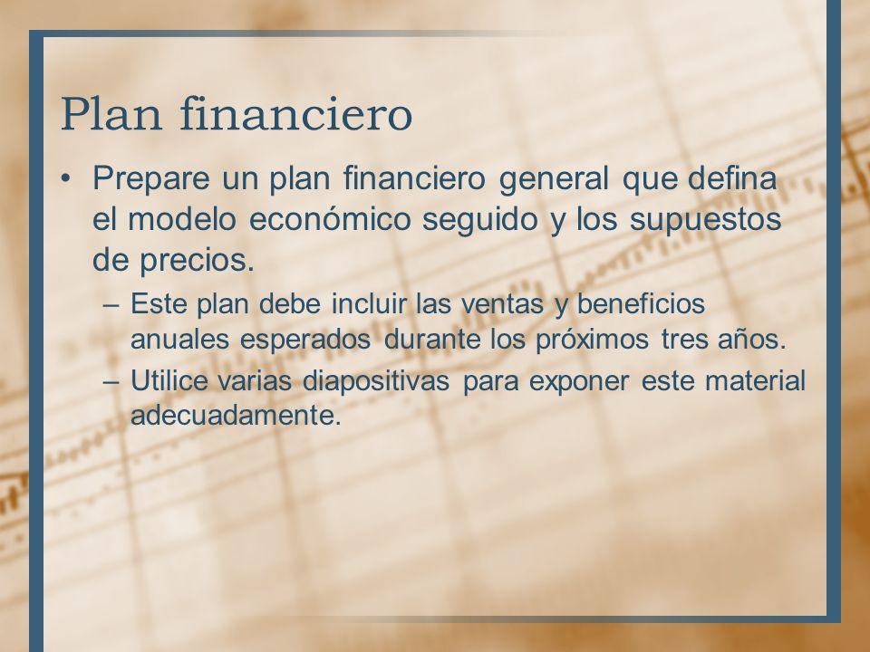Necesidades de recursos Prepare una lista de las necesidades de los siguientes recursos: –Personal –Tecnología –Finanzas –Distribución –Promoción –Productos –Servicios