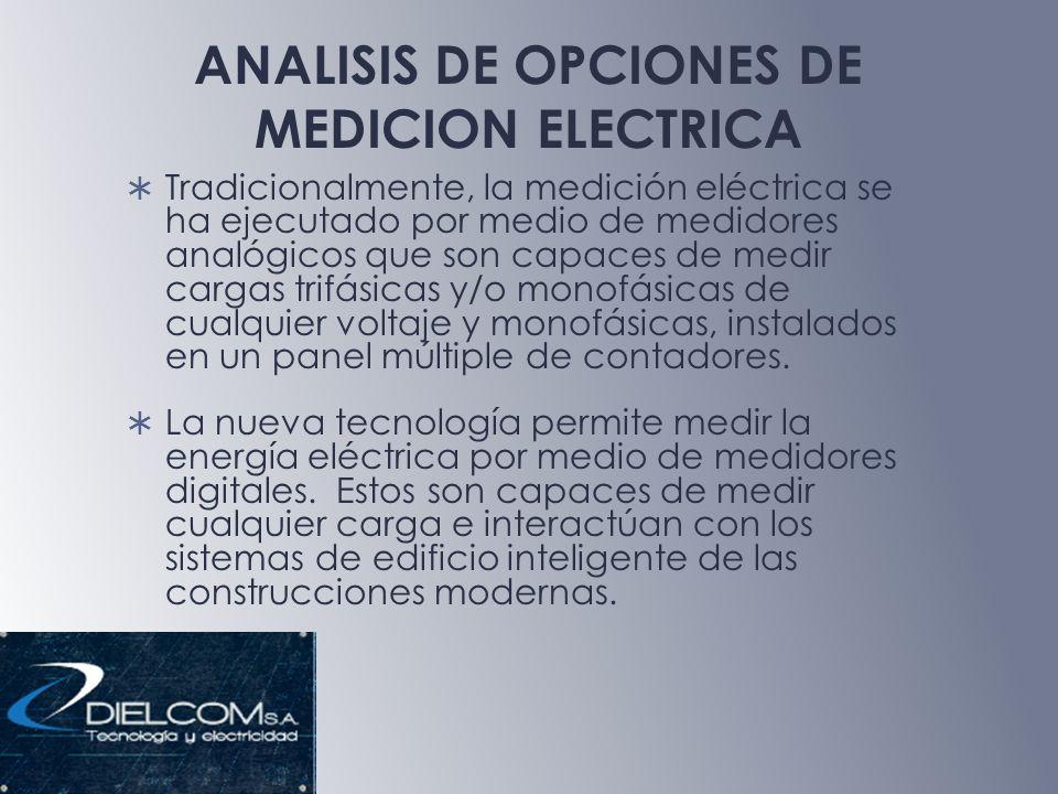 ANALISIS DE OPCIONES DE MEDICION ELECTRICA Tradicionalmente, la medición eléctrica se ha ejecutado por medio de medidores analógicos que son capaces de medir cargas trifásicas y/o monofásicas de cualquier voltaje y monofásicas, instalados en un panel múltiple de contadores.