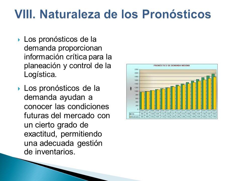 Los pronósticos de la demanda proporcionan información crítica para la planeación y control de la Logística. Los pronósticos de la demanda ayudan a co