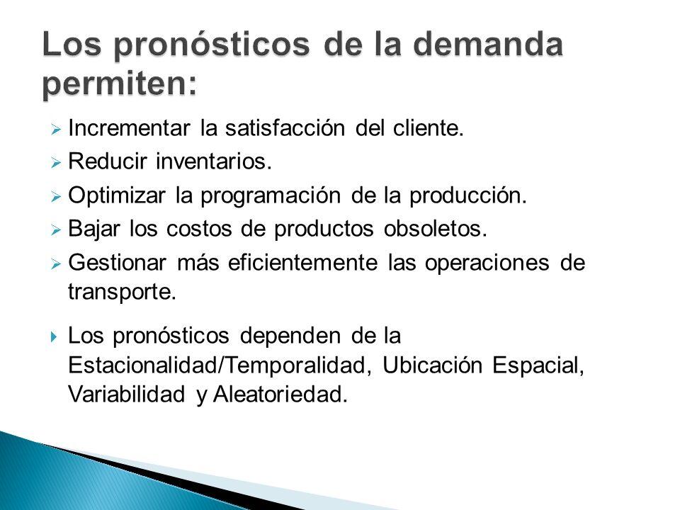 Incrementar la satisfacción del cliente. Reducir inventarios. Optimizar la programación de la producción. Bajar los costos de productos obsoletos. Ges
