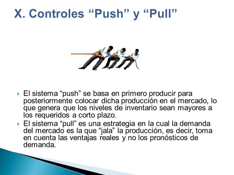 El sistema push se basa en primero producir para posteriormente colocar dicha producción en el mercado, lo que genera que los niveles de inventario se