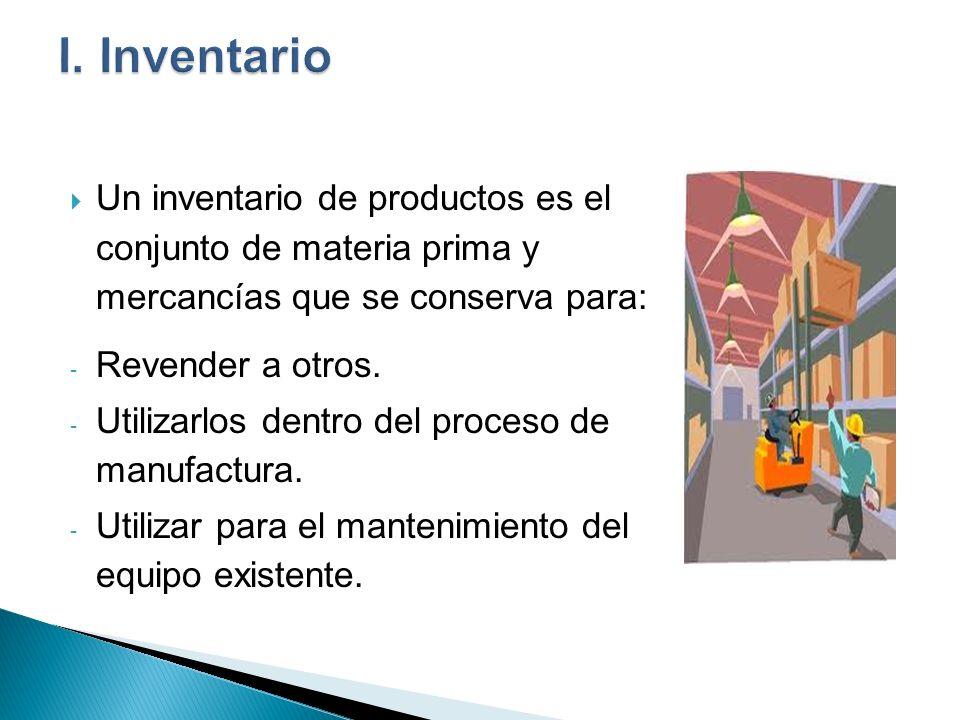 Un inventario de productos es el conjunto de materia prima y mercancías que se conserva para: - Revender a otros. - Utilizarlos dentro del proceso de