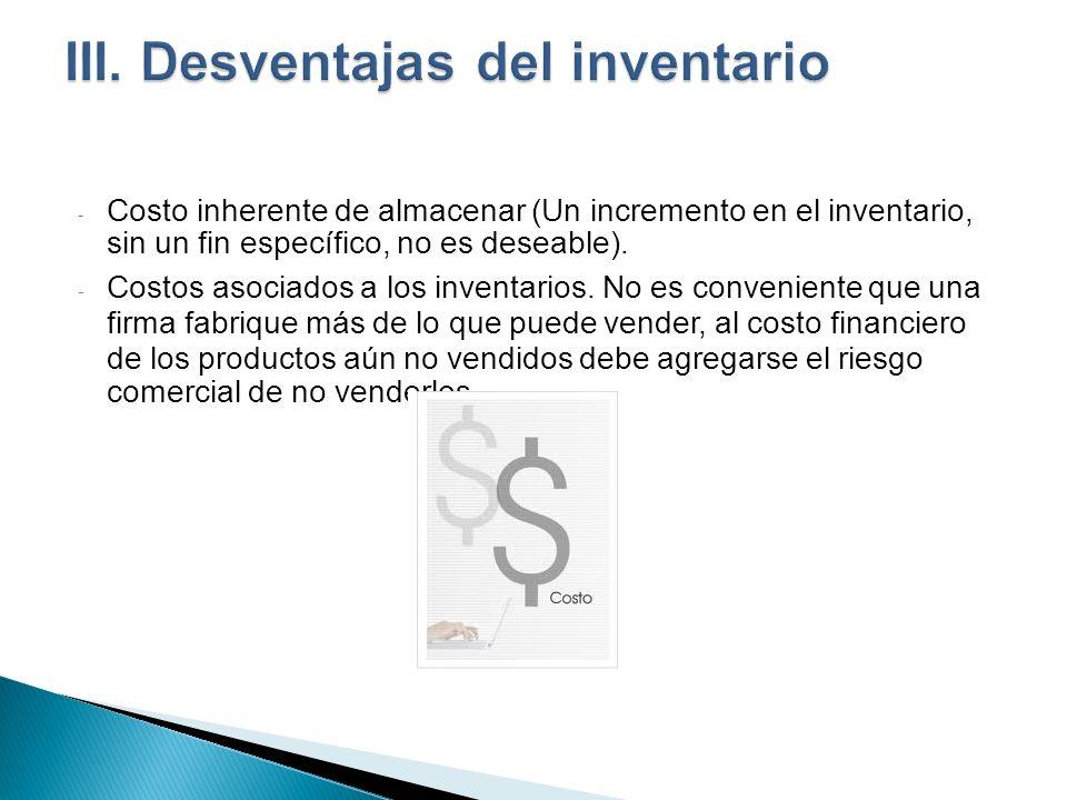 - Costo inherente de almacenar (Un incremento en el inventario, sin un fin específico, no es deseable). - Costos asociados a los inventarios. No es co