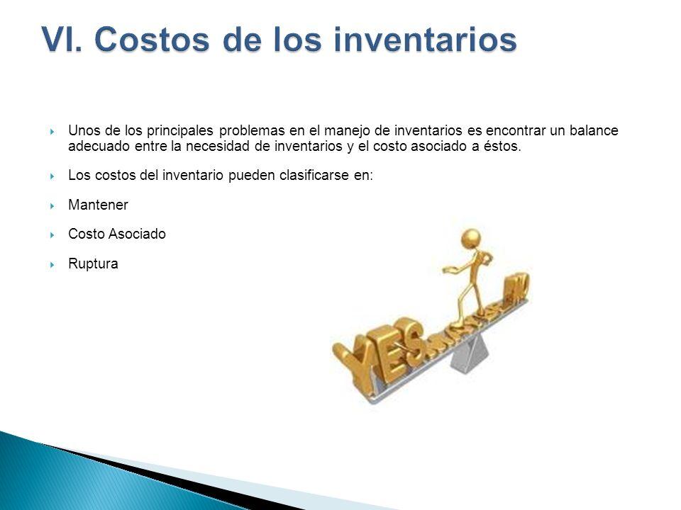 Unos de los principales problemas en el manejo de inventarios es encontrar un balance adecuado entre la necesidad de inventarios y el costo asociado a
