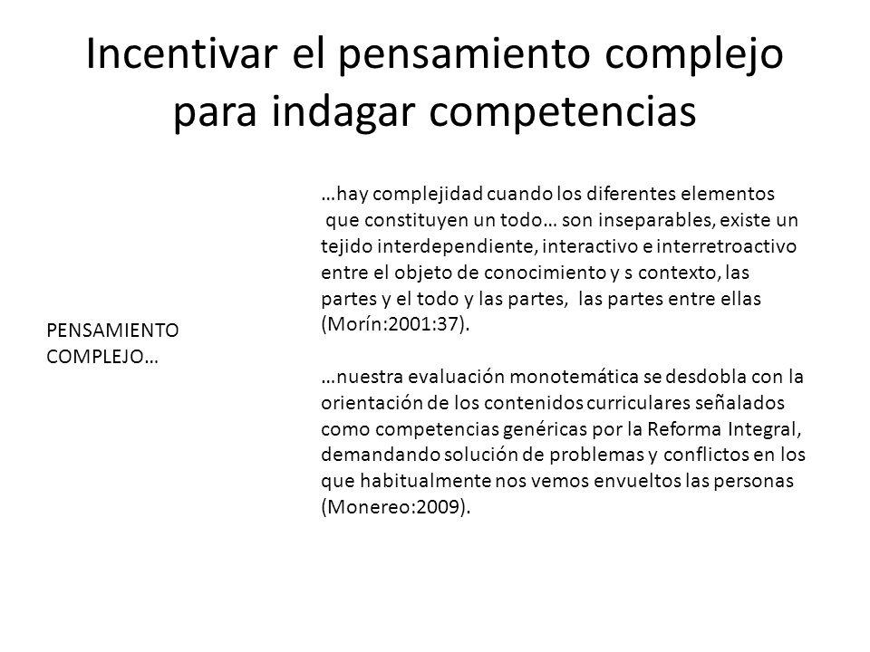 Incentivar el pensamiento complejo para indagar competencias …hay complejidad cuando los diferentes elementos que constituyen un todo… son inseparables, existe un tejido interdependiente, interactivo e interretroactivo entre el objeto de conocimiento y s contexto, las partes y el todo y las partes, las partes entre ellas (Morín:2001:37).