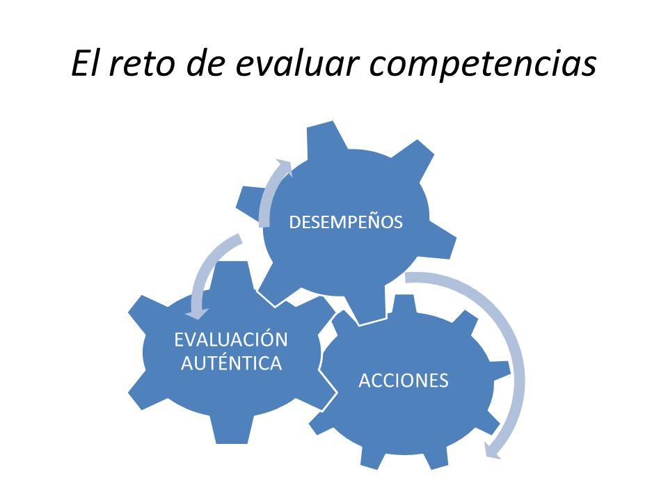 El reto de evaluar competencias ACCIONES EVALUACIÓN AUTÉNTICA DESEMPEÑOS