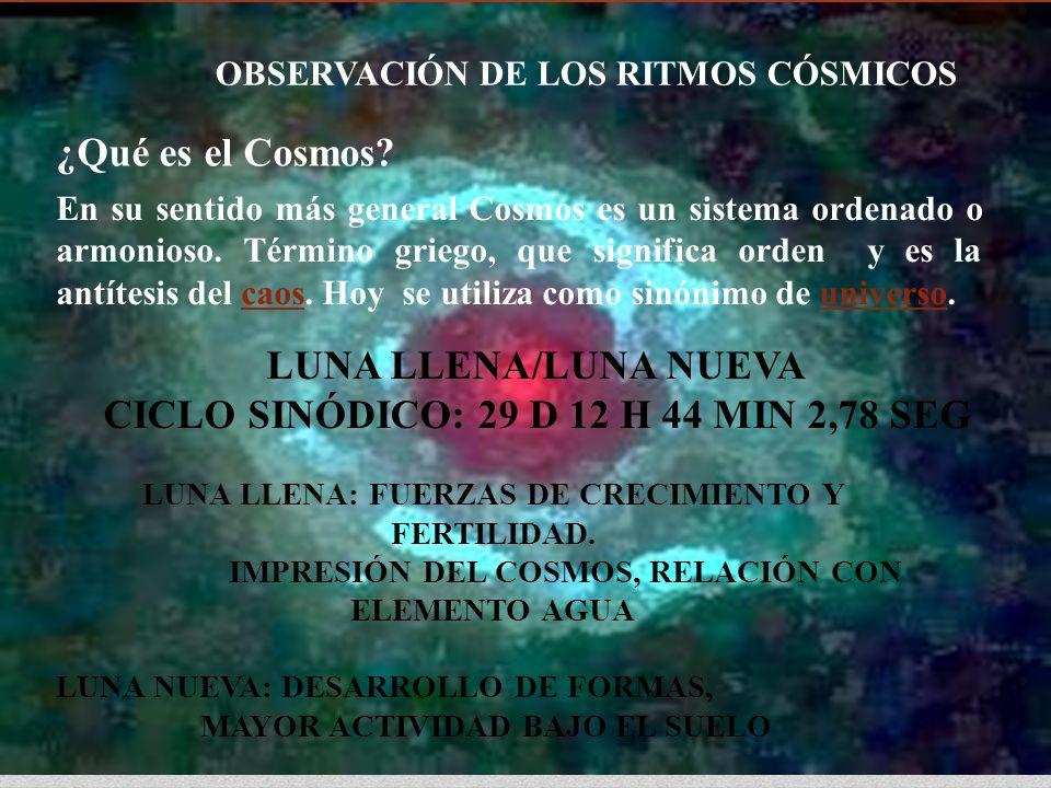 OBSERVACIÓN DE LOS RITMOS CÓSMICOS En su sentido más general Cosmos es un sistema ordenado o armonioso. Término griego, que significa orden y es la an