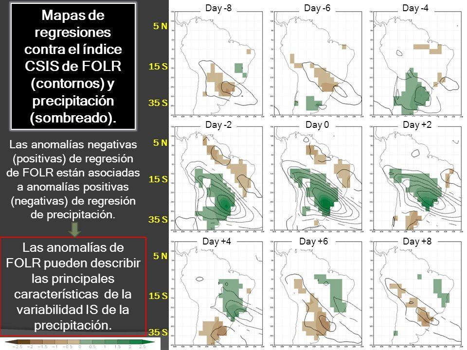 5 N 15 S 35 S 5 N 15 S 35 S 5 N 15 S 35 S Mapas de regresiones contra el índice CSIS de FOLR (contornos) y precipitación (sombreado). Las anomalías ne