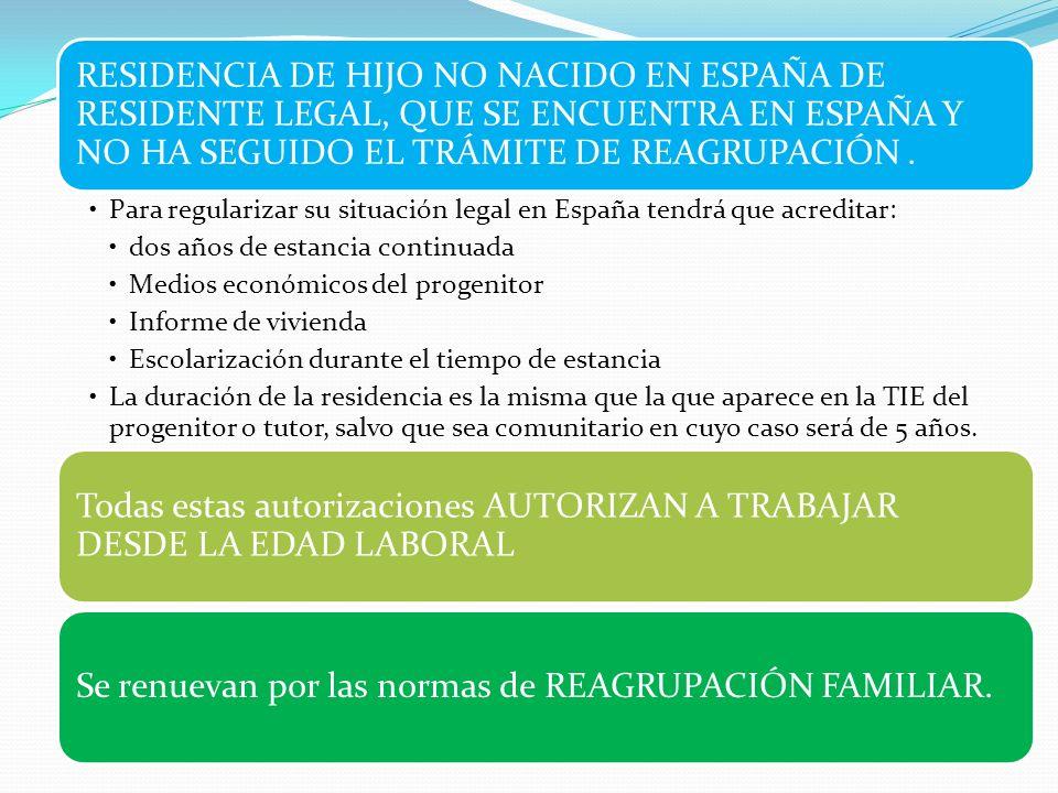 RESIDENCIA DE HIJO NO NACIDO EN ESPAÑA DE RESIDENTE LEGAL, QUE SE ENCUENTRA EN ESPAÑA Y NO HA SEGUIDO EL TRÁMITE DE REAGRUPACIÓN. Para regularizar su