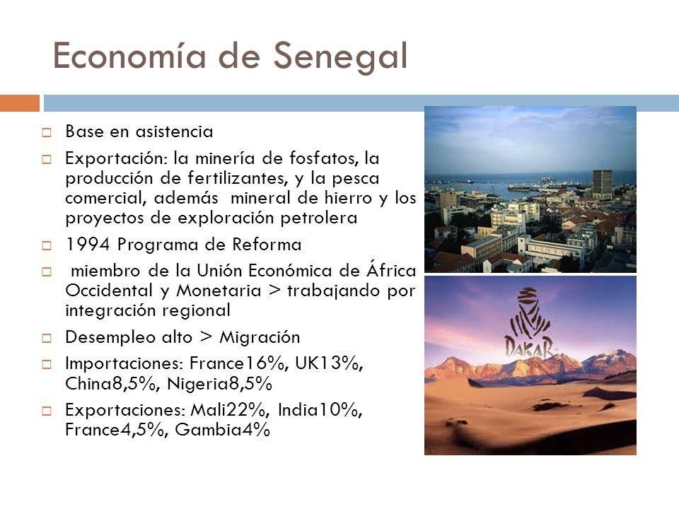 Economía de Senegal Base en asistencia Exportación: la minería de fosfatos, la producción de fertilizantes, y la pesca comercial, además mineral de hi
