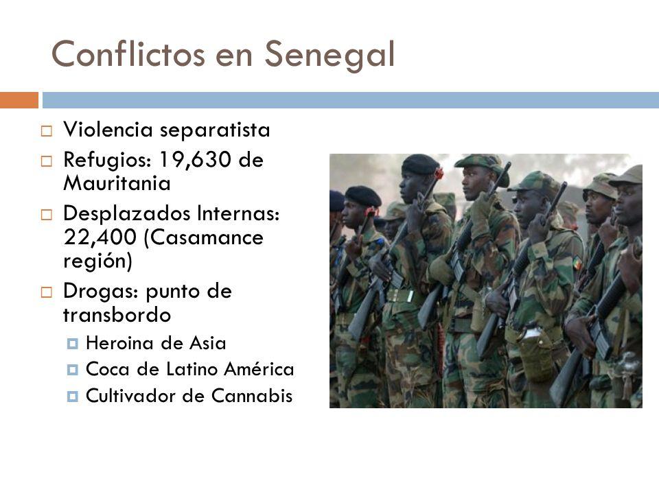 Conflictos en Senegal Violencia separatista Refugios: 19,630 de Mauritania Desplazados Internas: 22,400 (Casamance región) Drogas: punto de transbordo