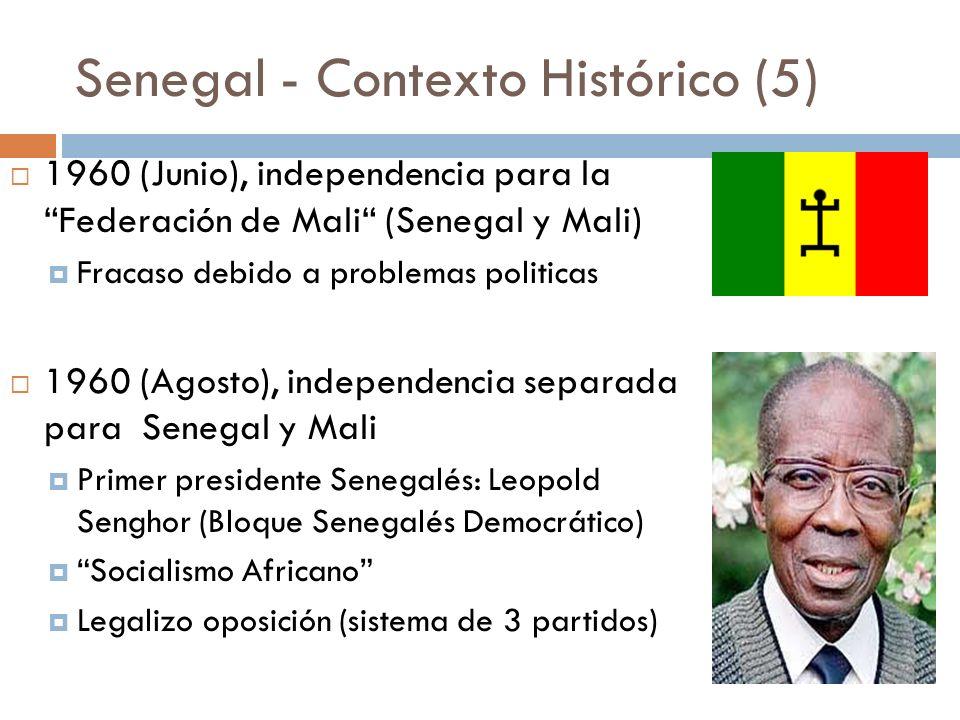 Senegal - Contexto Histórico (5) 1960 (Junio), independencia para la Federación de Mali (Senegal y Mali) Fracaso debido a problemas politicas 1960 (Ag
