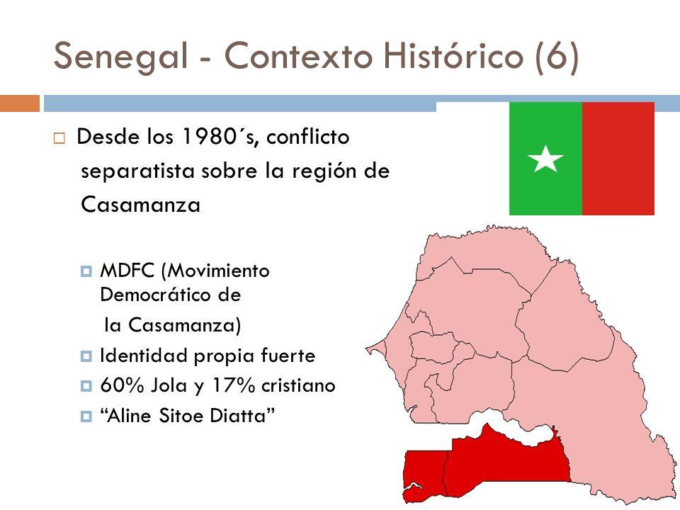 Senegal - Contexto Histórico (6) Desde los 1980´s, conflicto separatista sobre la región de Casamanza MDFC (Movimiento Fuerzas Democrático de la Casam