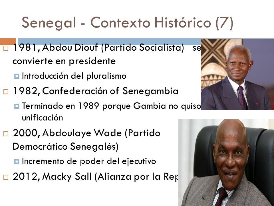 Senegal - Contexto Histórico (7) 1981, Abdou Diouf (Partido Socialista) se convierte en presidente Introducción del pluralismo 1982, Confederación of