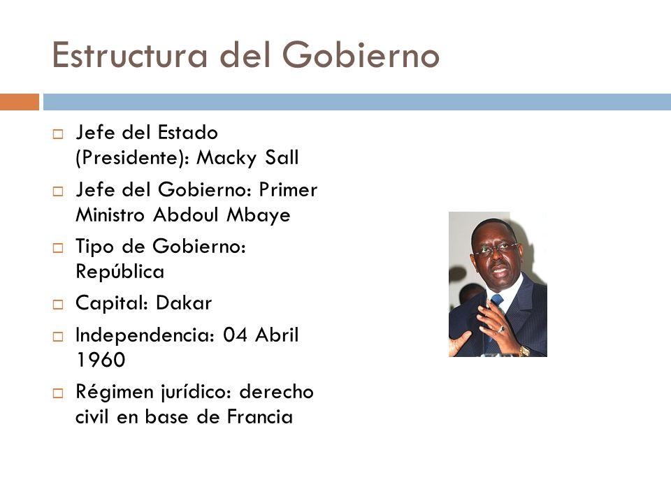 Estructura del Gobierno Jefe del Estado (Presidente): Macky Sall Jefe del Gobierno: Primer Ministro Abdoul Mbaye Tipo de Gobierno: República Capital: