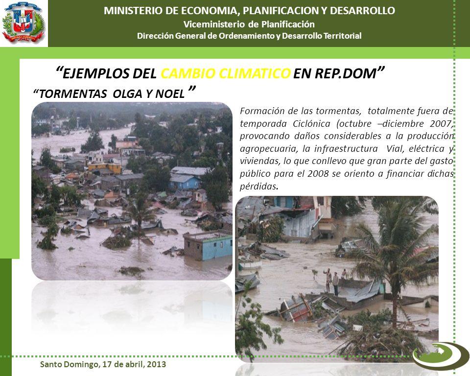 Dos tormentas, Noel y Olga 2007, nos impactaron duramente 1.2% PIB Millones de RD$ 5.3% Presupuesto