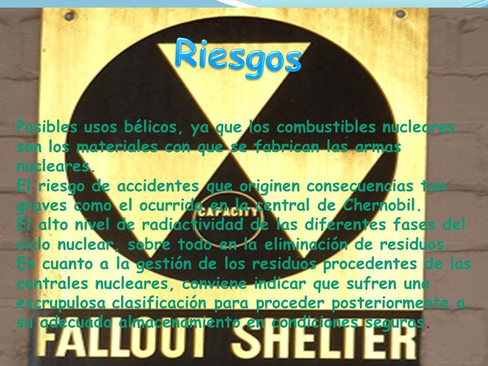Posibles usos bélicos, ya que los combustibles nucleares son los materiales con que se fabrican las armas nucleares.
