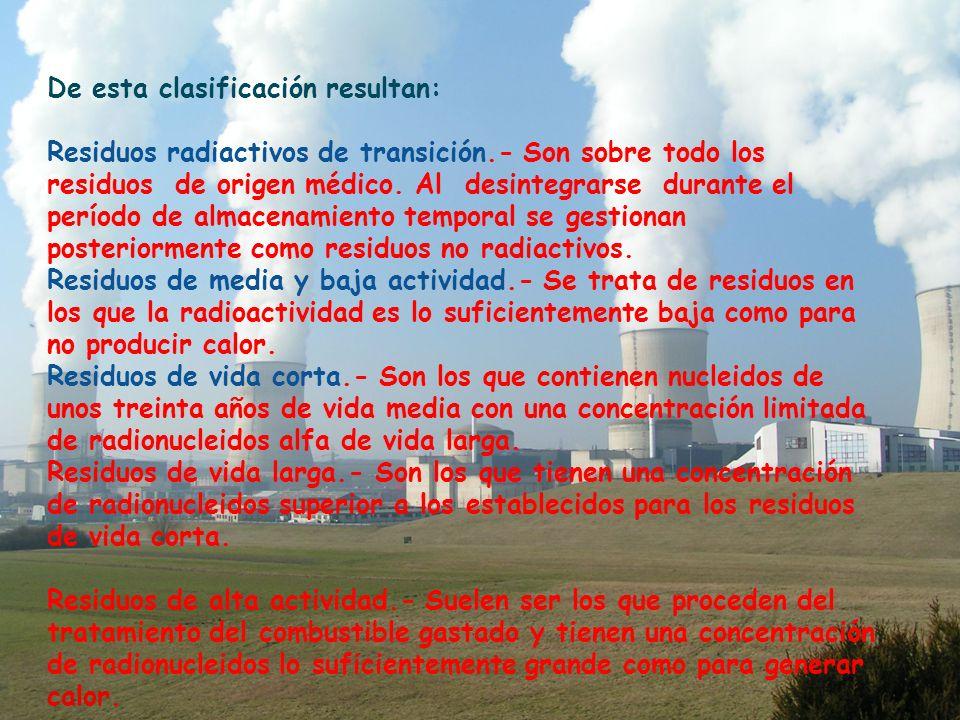 De esta clasificación resultan: Residuos radiactivos de transición.- Son sobre todo los residuos de origen médico.