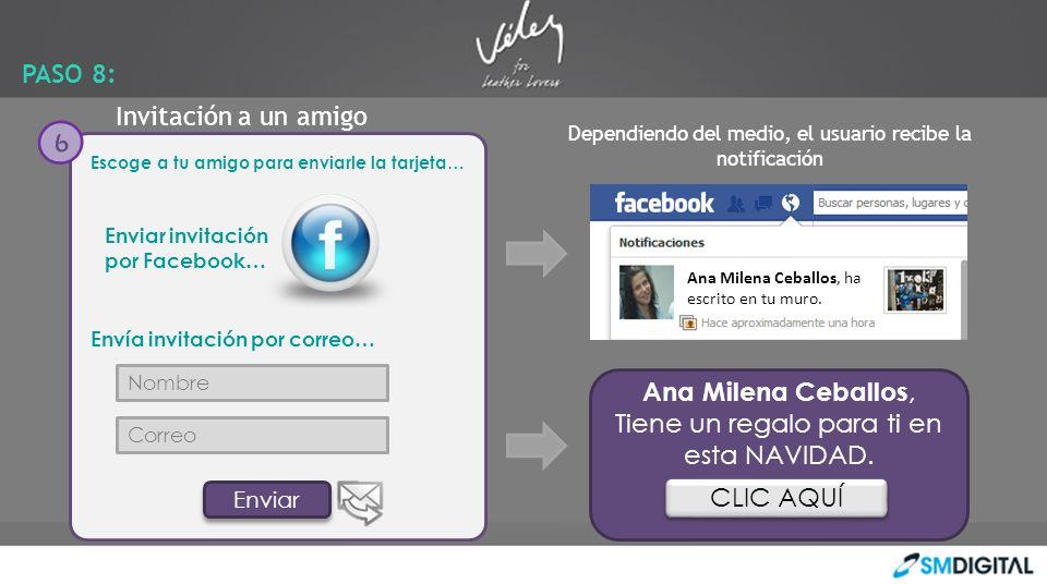 Enviar Escoge a tu amigo para enviarle la tarjeta… Envía invitación por correo… Nombre Correo Enviar 6 Ana Milena Ceballos, ha escrito en tu muro. Ana