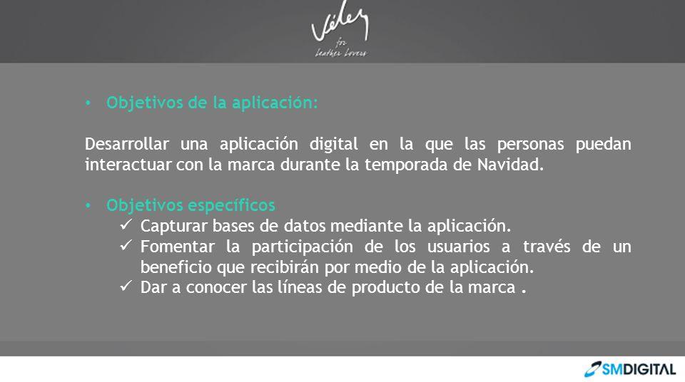 Objetivos de la aplicación: Desarrollar una aplicación digital en la que las personas puedan interactuar con la marca durante la temporada de Navidad.